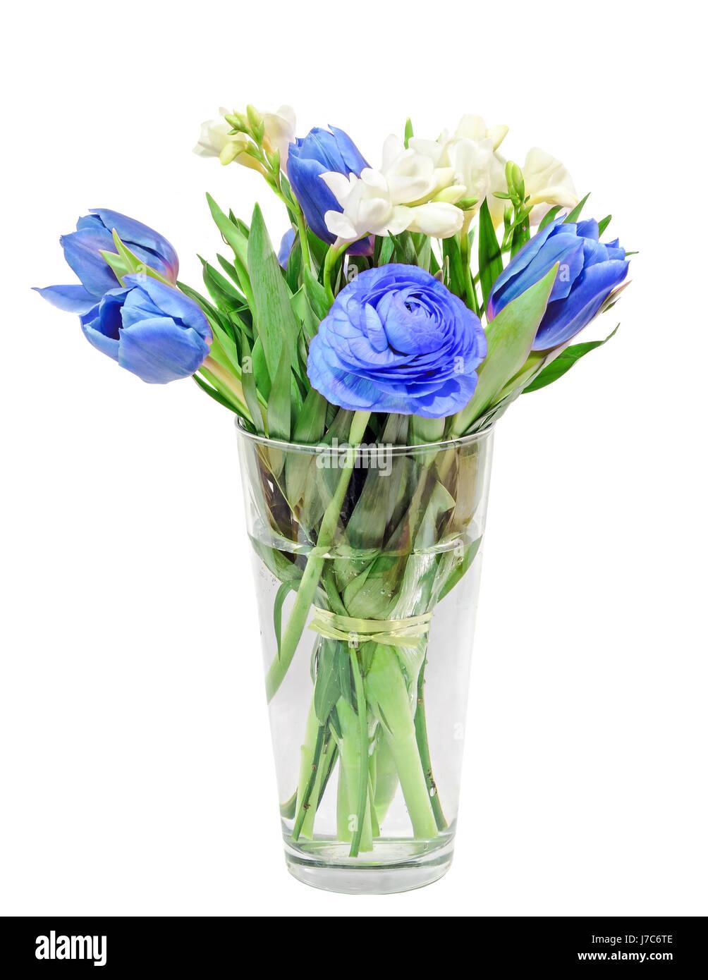 Azul Blanco Tulipanes Fresias Ranunculus Flores Ramo De Novia