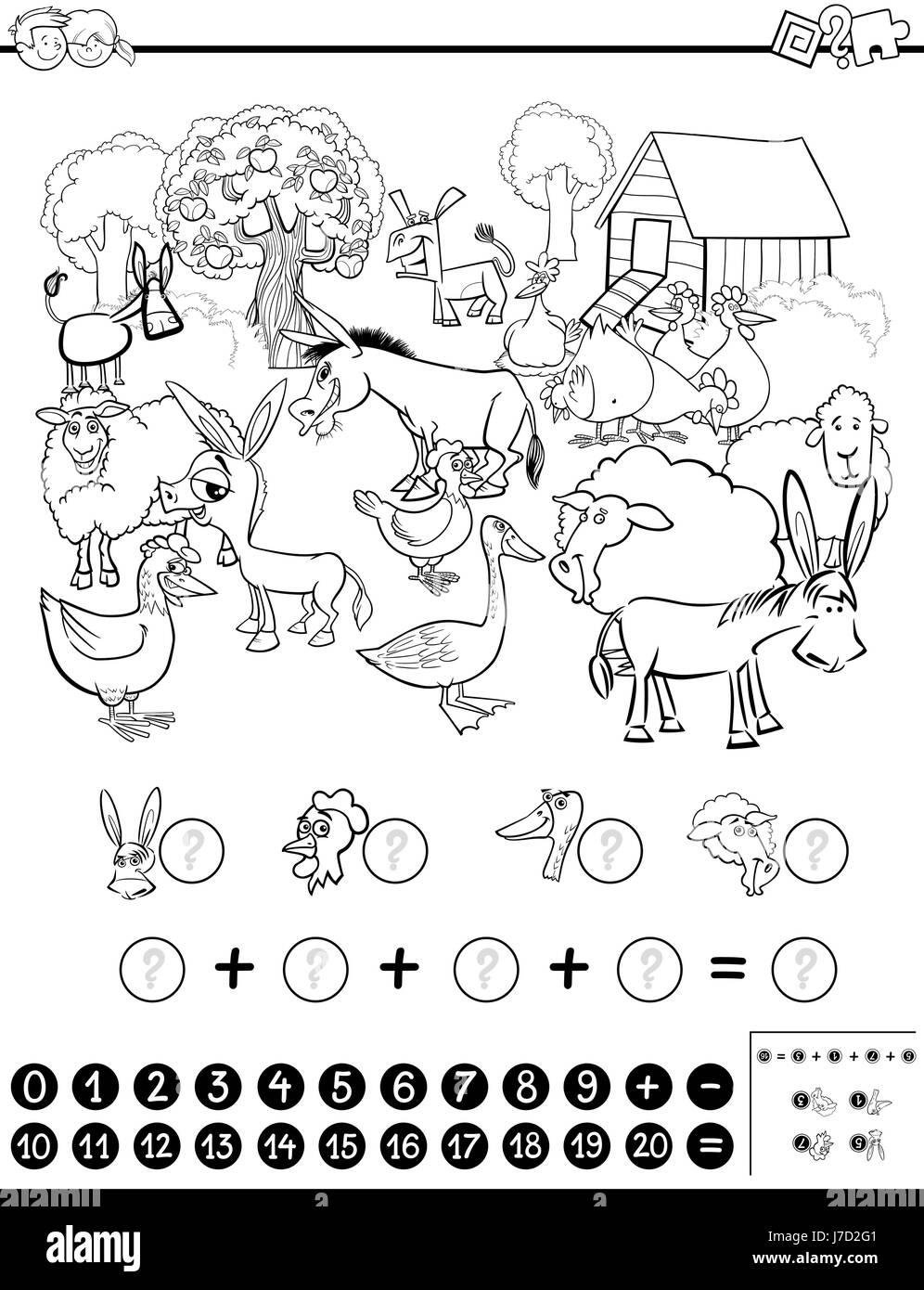 Ilustración caricatura en blanco y negro de la actividad matemática ...