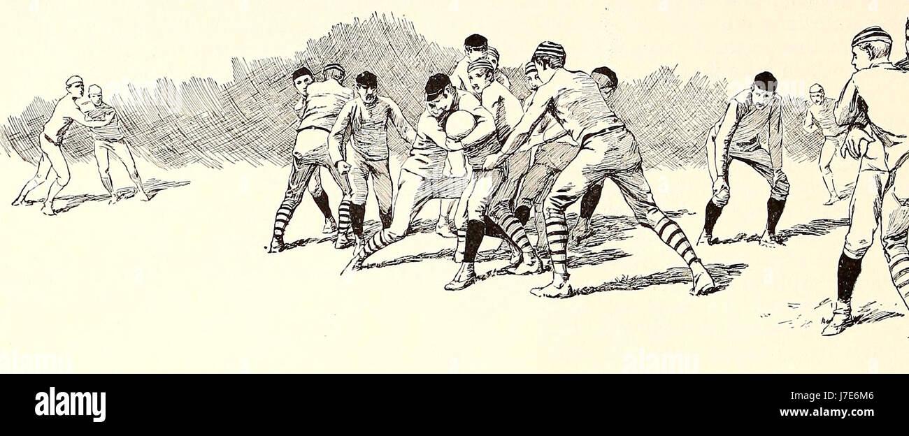 Rompiendo la línea de Rush - Fútbol Americano, circa 1887 Imagen De Stock