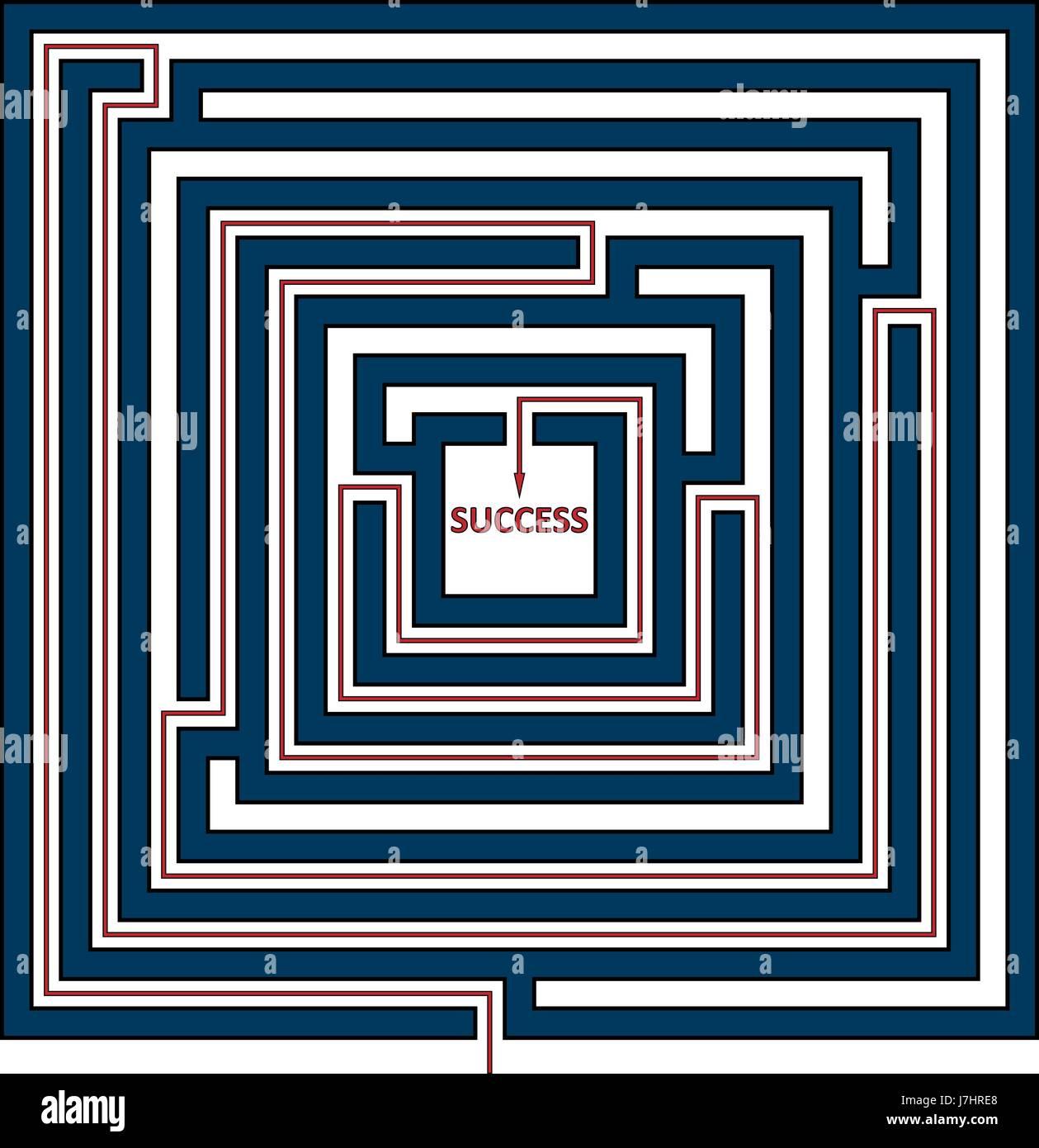 Ilustración vectorial de laberinto cuadrado con la solución como una línea roja para el éxito. Imagen De Stock