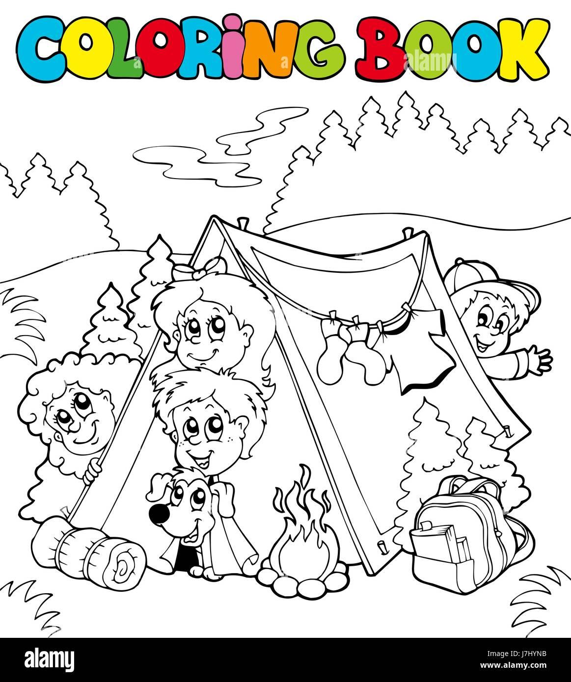 La pintura de color pintado camping camp camp para colorear de ...