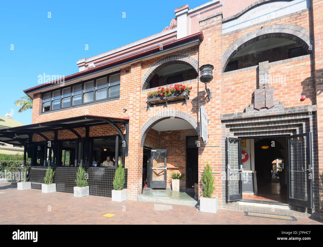 Berry Hotel, restaurante y alojamiento, creado en 1863, Berry, Nueva Gales del Sur (NSW, Australia Imagen De Stock