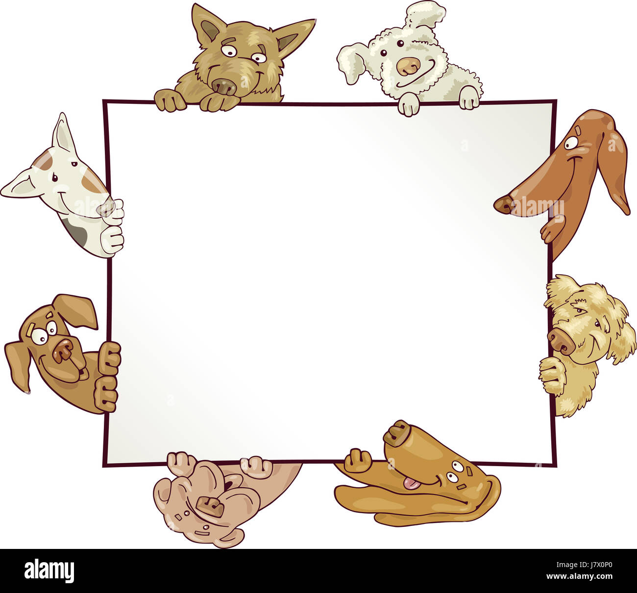 Perro Mascota Tarjeta con ilustración cartoon frame marco diseño ...