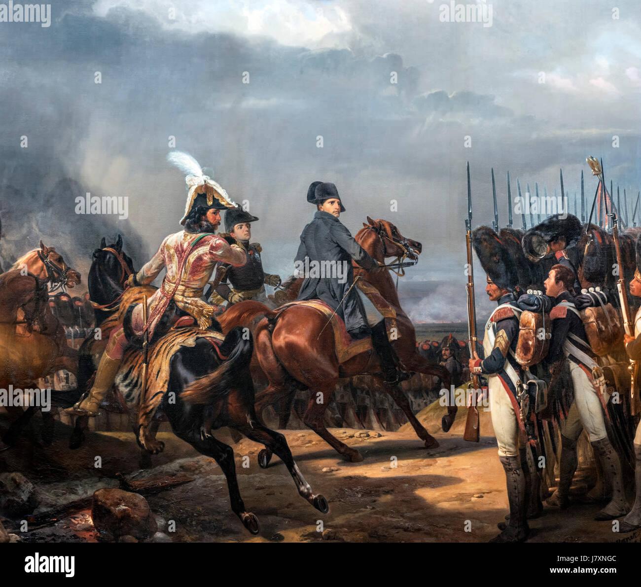 Napoleón Bonaparte revisando la Guardia Imperial en la batalla de Jena-Auerstedt (Bataille d'Iena) el 14 de octubre de 1806 por Horace Vernet, óleo sobre lienzo, 1836. La batalla marcó la derrota de la Cuarta Coalición en tne Guerras Napoleónicas. Foto de stock