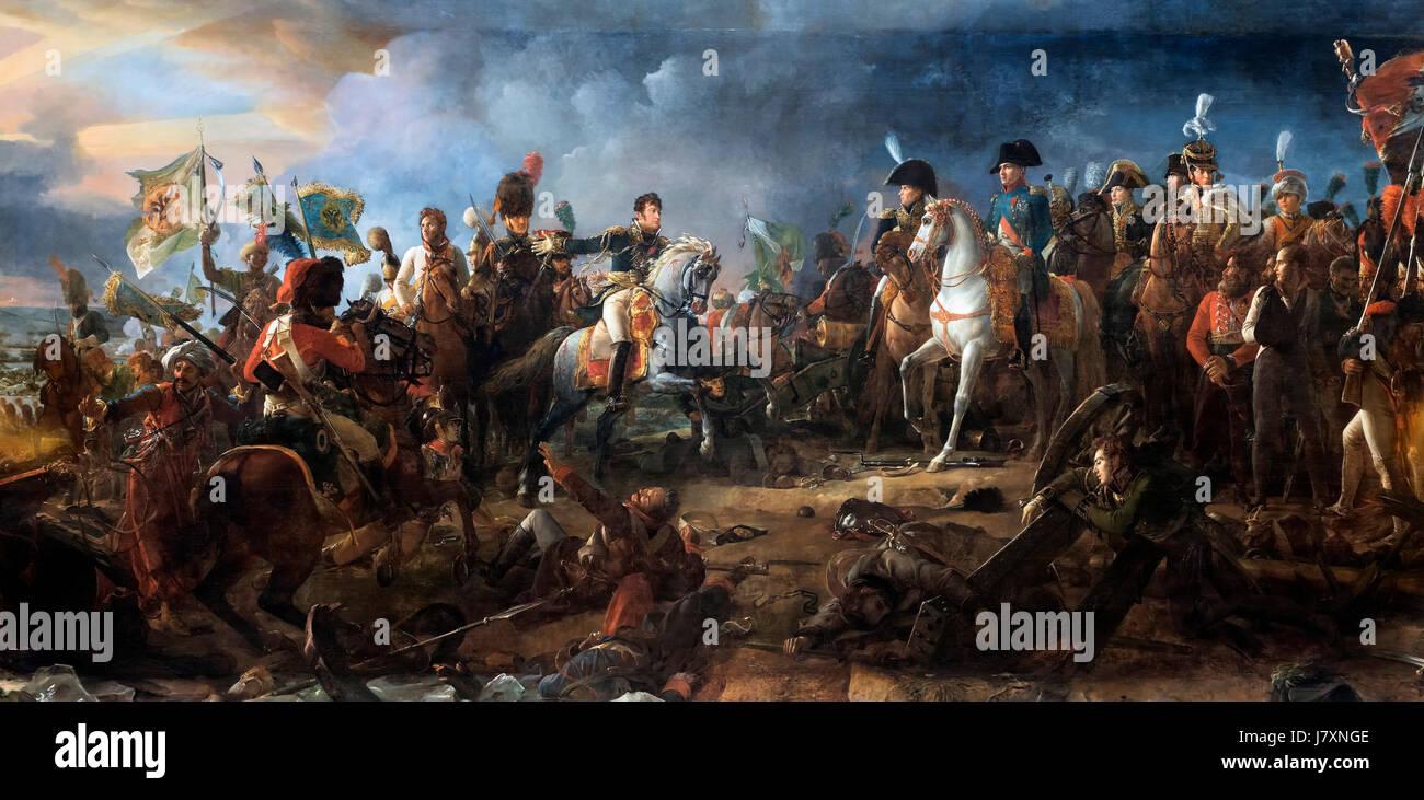 Napoleón Bonaparte en la batalla de Austerlitz el 2 de diciembre de 1805 por Francois Gerard, óleo sobre lienzo, 1810. La batalla fue la más importante de las guerras napoleónicas, con una victoria decisiva de Francia. Foto de stock