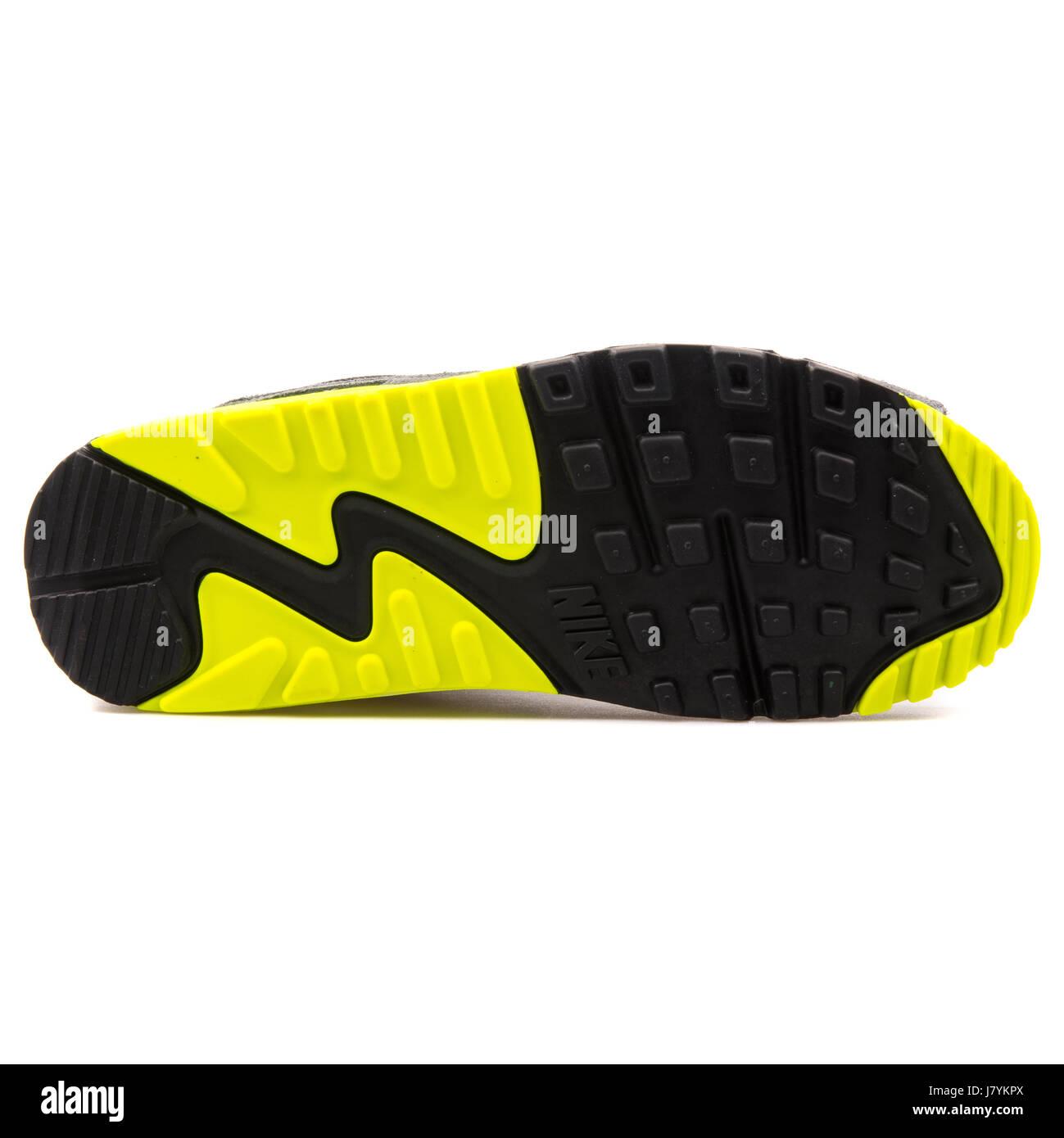 Nike Air Max 90 Malla (GS) la juventud negra de cuero gris y