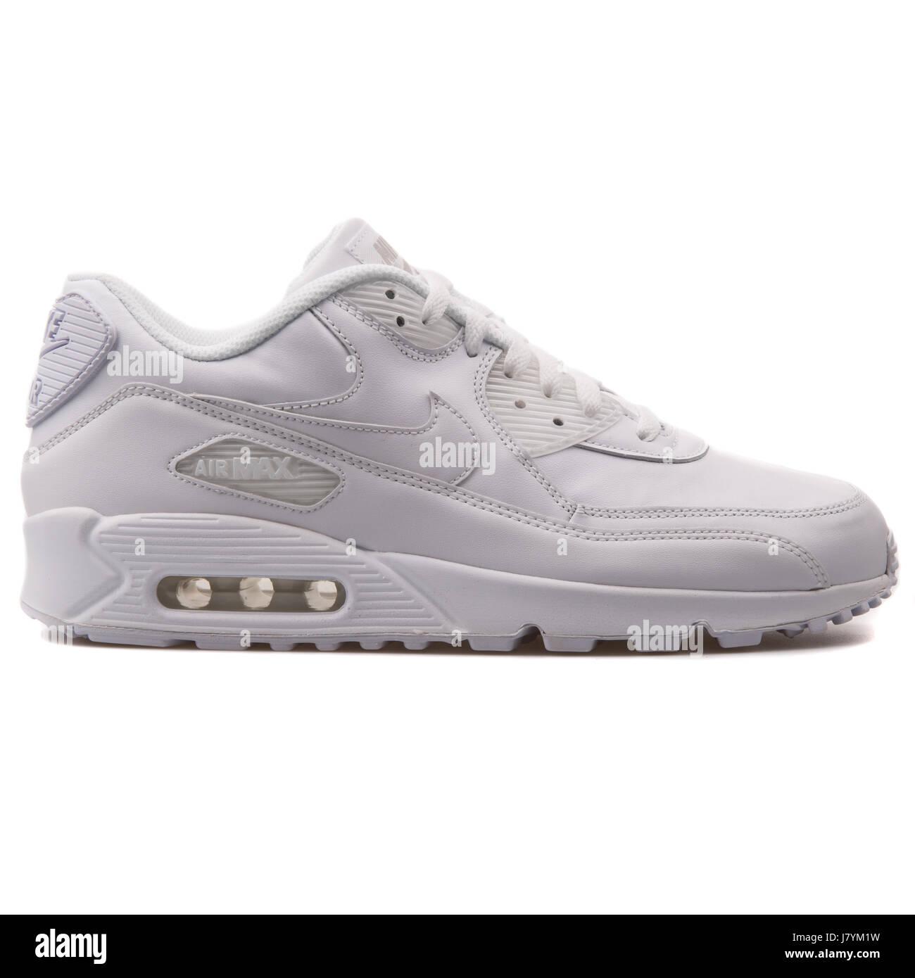 separation shoes e4d84 3e029 Nike Air Max 90 hombres blancos de cuero de cuero de zapatillas deportivas  - 302519-