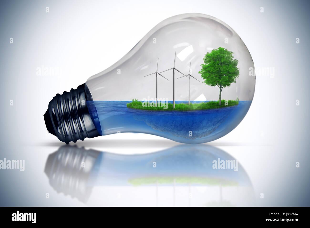 Bombilla de luz como un micro planeta con agua azul y una isla con hierba verde y el árbol que crece en su interior. Foto de stock