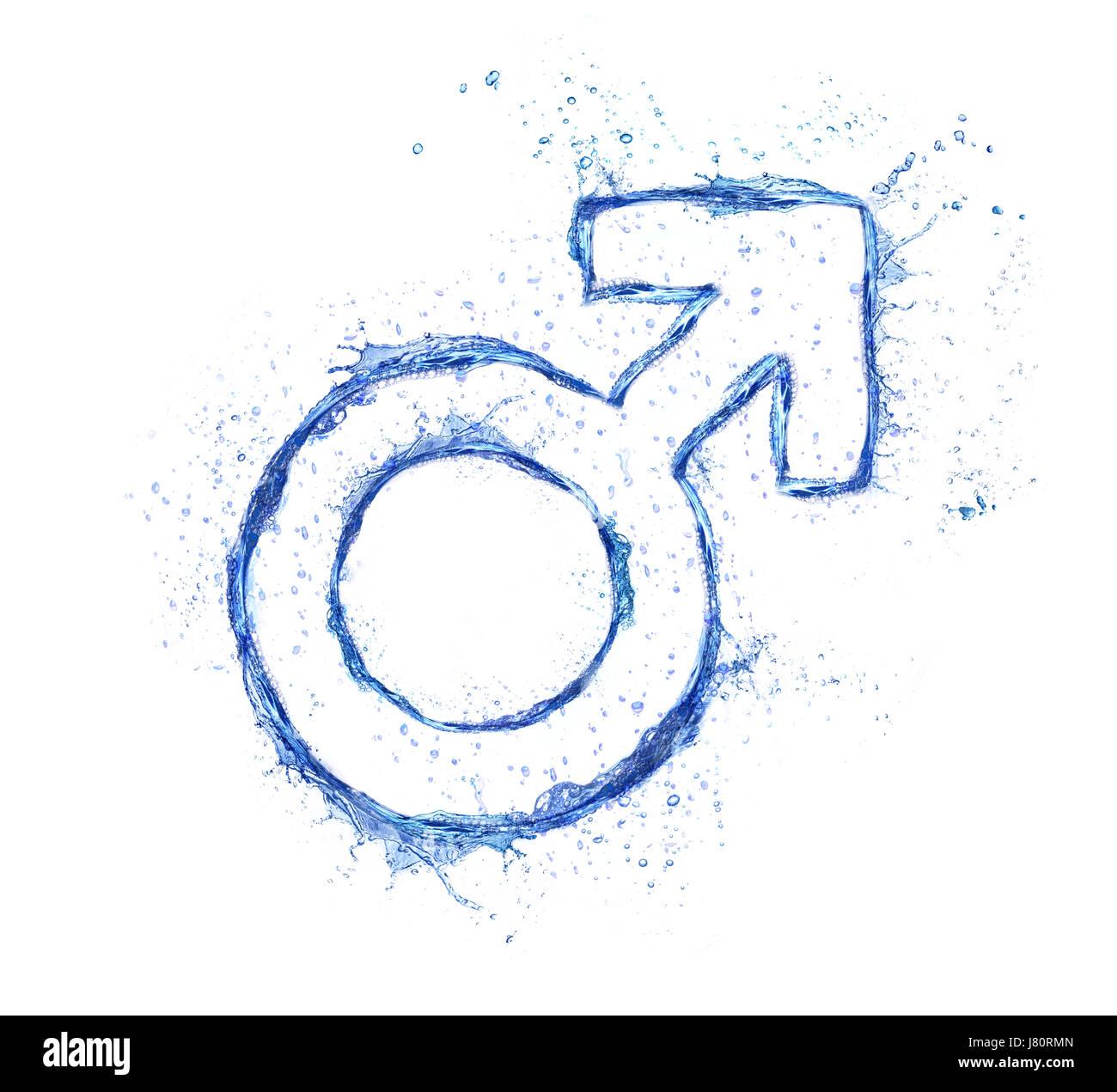 Blue Water Splash masculinos, signo aislado sobre fondo blanco. Foto de stock