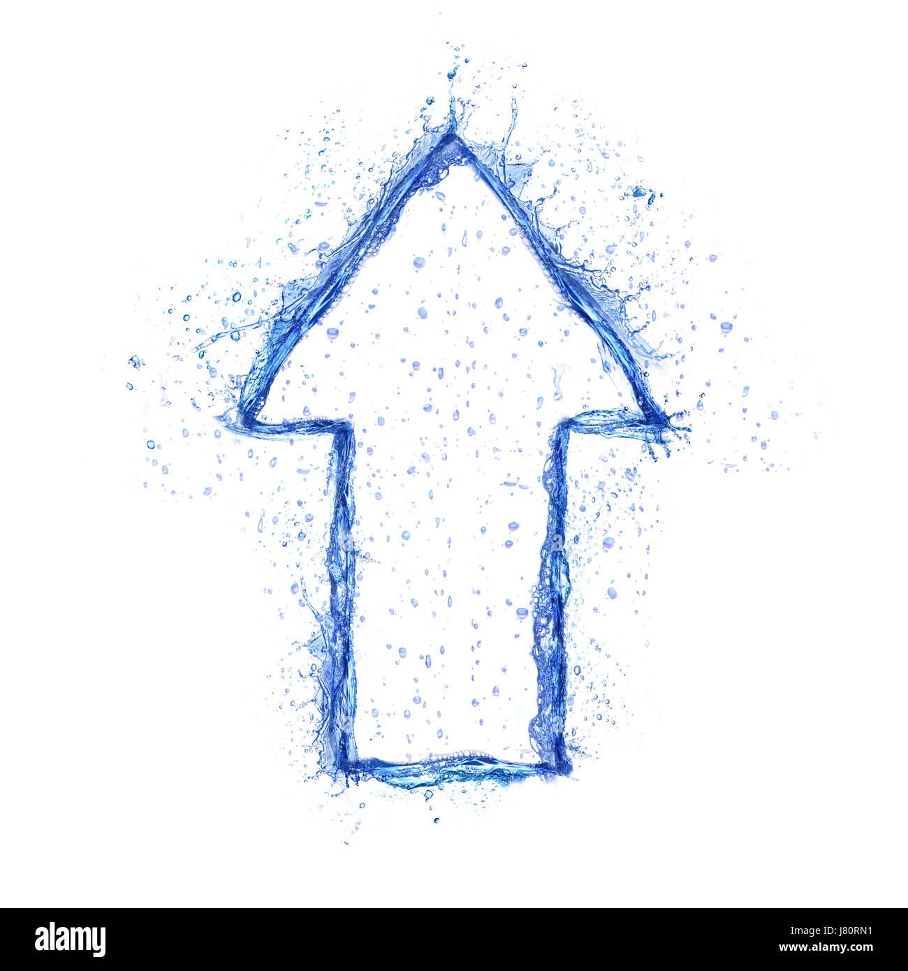Blue Water Splash arrow aislado sobre fondo blanco. Foto de stock