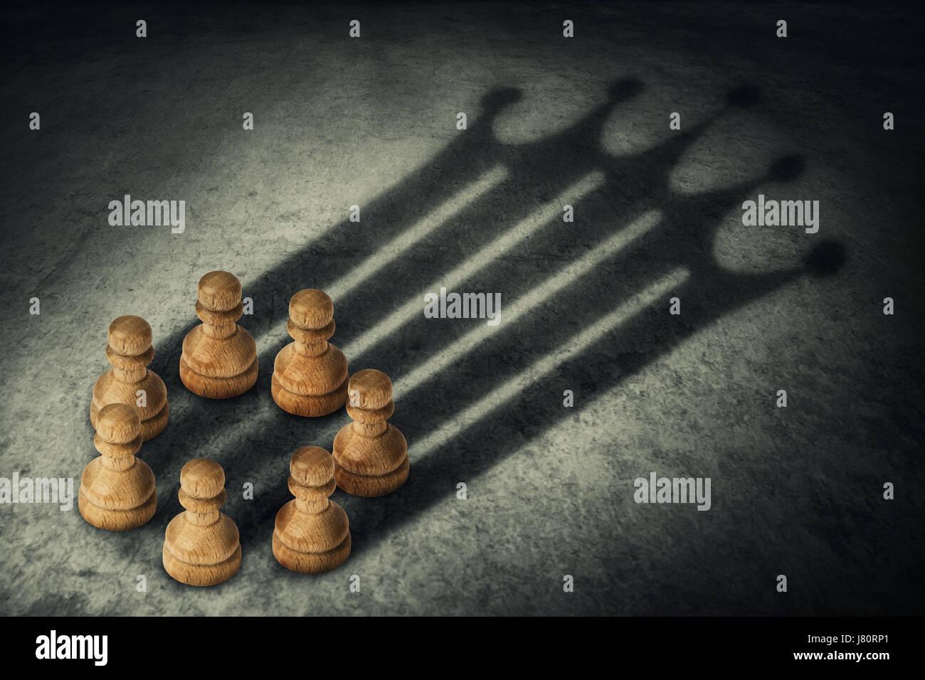 Peón de ajedrez juntos, dispuestas en un círculo uniendo el poder, proyectando una sombra con forma de corona. Grupo Foto de stock