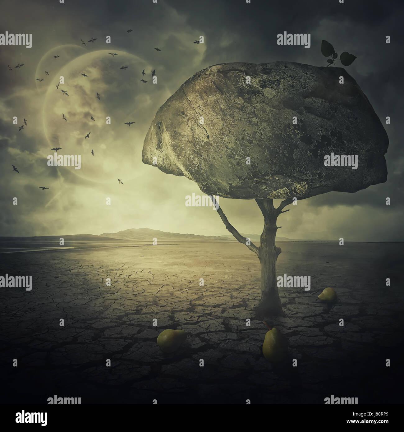 Antecedentes surrealistas como un extraño pear tree con una gran roca en lugar de las hojas, corona, situado en Foto de stock