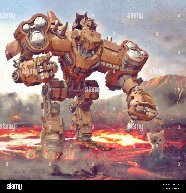 Máquina robot intentan atrapar los gatitos de hot lava ilustración pintura Imagen De Stock