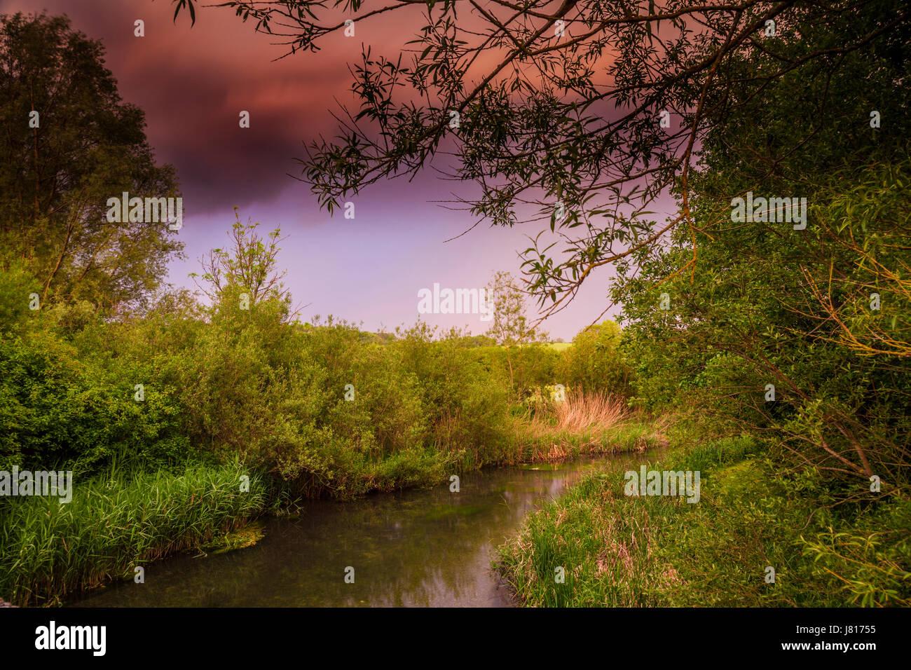 Acercándose a la tormenta de verano sobre el río Kennet en Wiltshire. Imagen De Stock