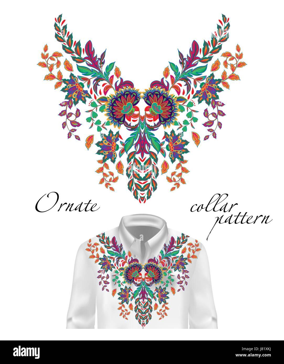 Vector patrón étnico bordados de flores en el cuello. Flor Azul ...