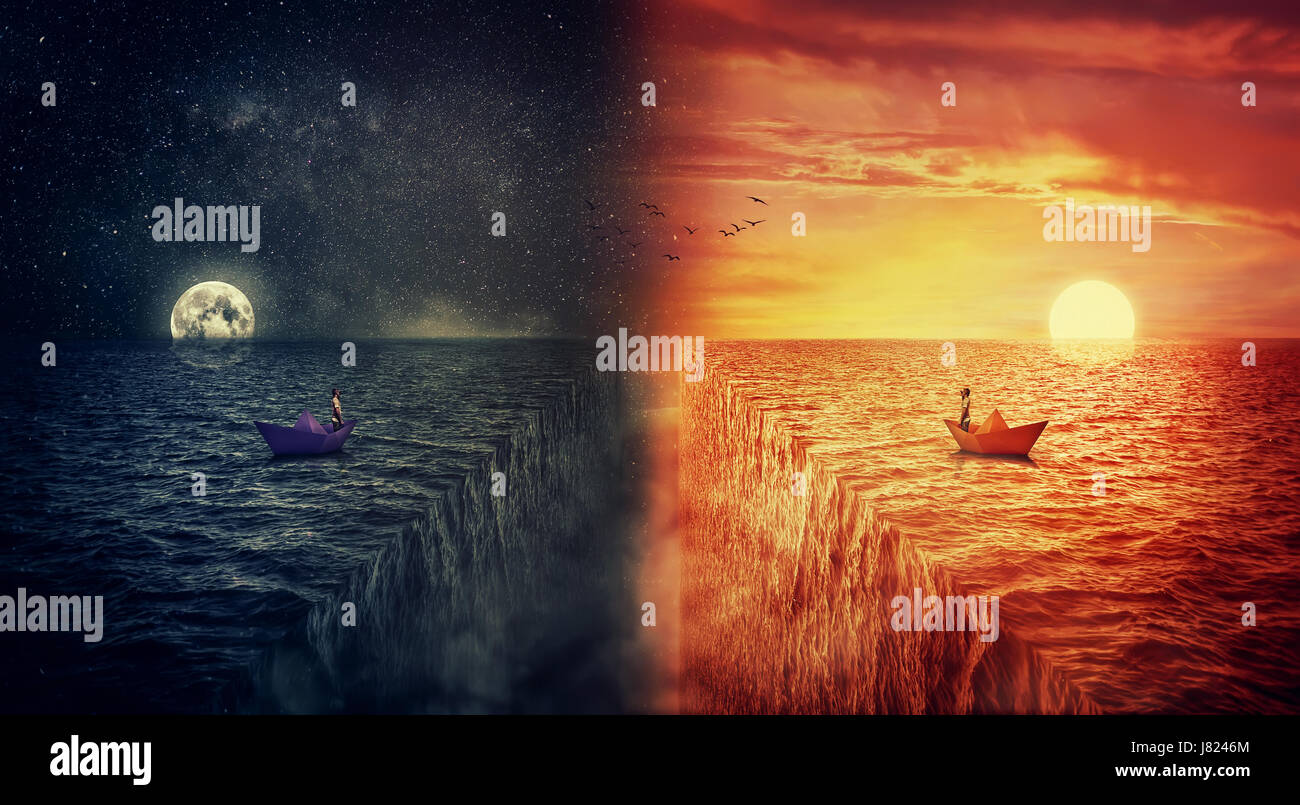 Vista conceptual de dos mundos colisionan, como un hombre perdido en un barco de papel, navegando en el medio del Imagen De Stock
