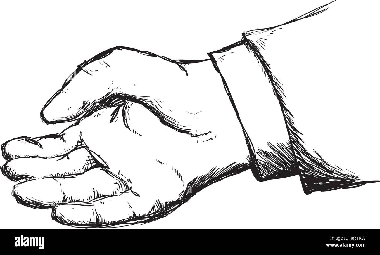 La mano gesto dibujado a mano Ilustración del Vector