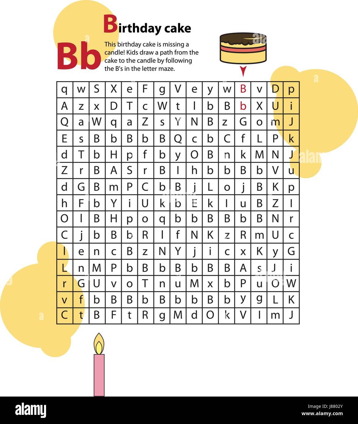 Carta laberinto B. Esta hoja de trabajo le ayuda a los niños a reconocer y nombrar letras mayúsculas y minúsculas. Ilustración del Vector