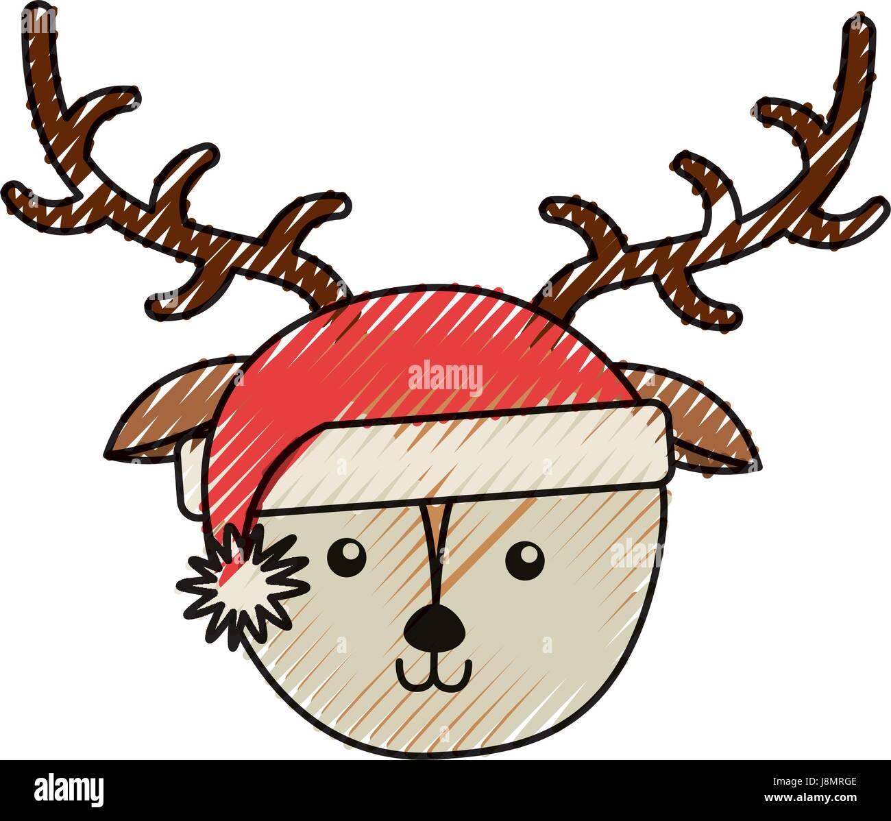 Merry Christmas Jump Deer Illustration Imagenes De Stock Merry - Ciervo-navidad