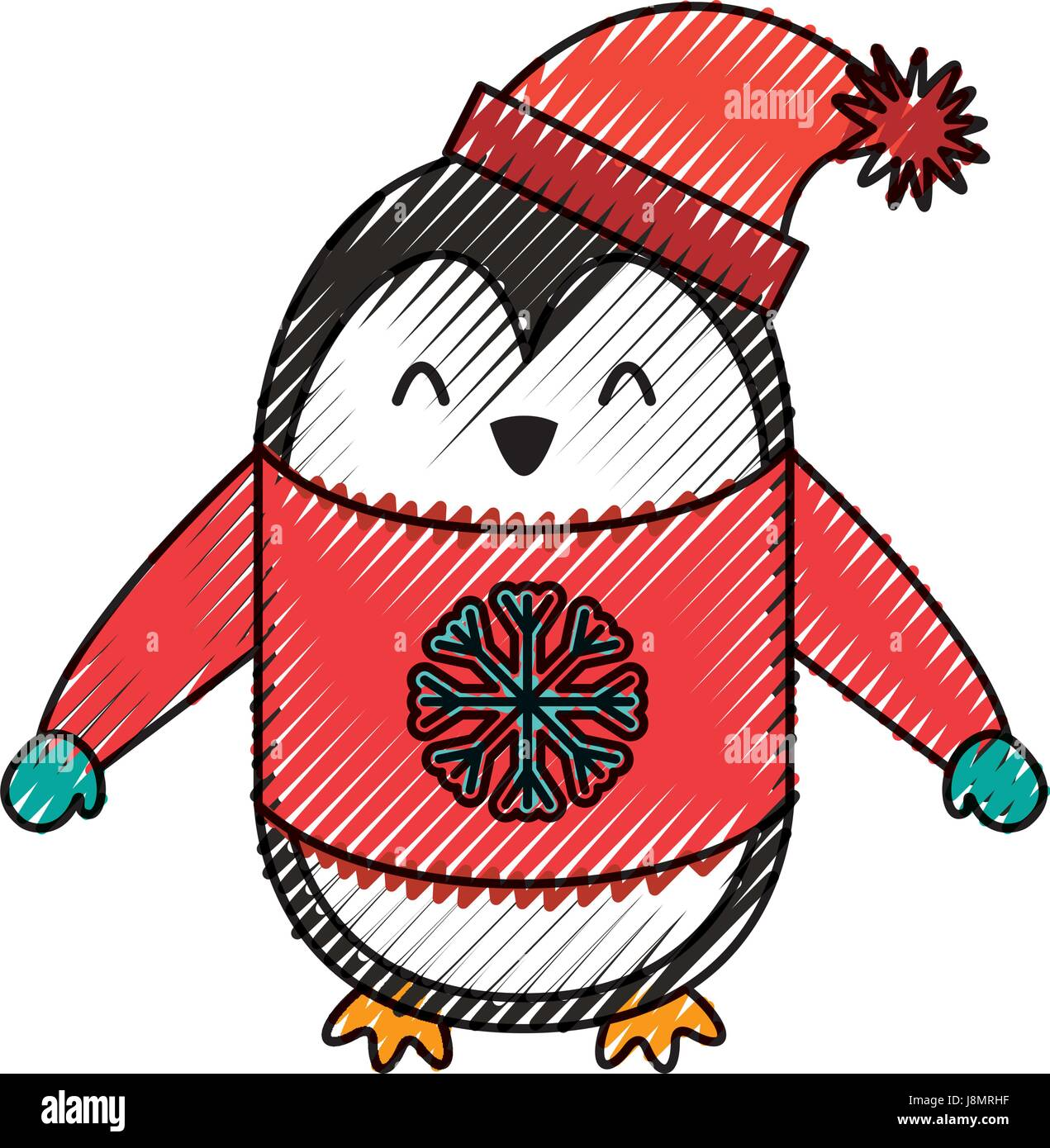 Scribble Cute Dibujos Animados De Pingüinos De Navidad Ilustración