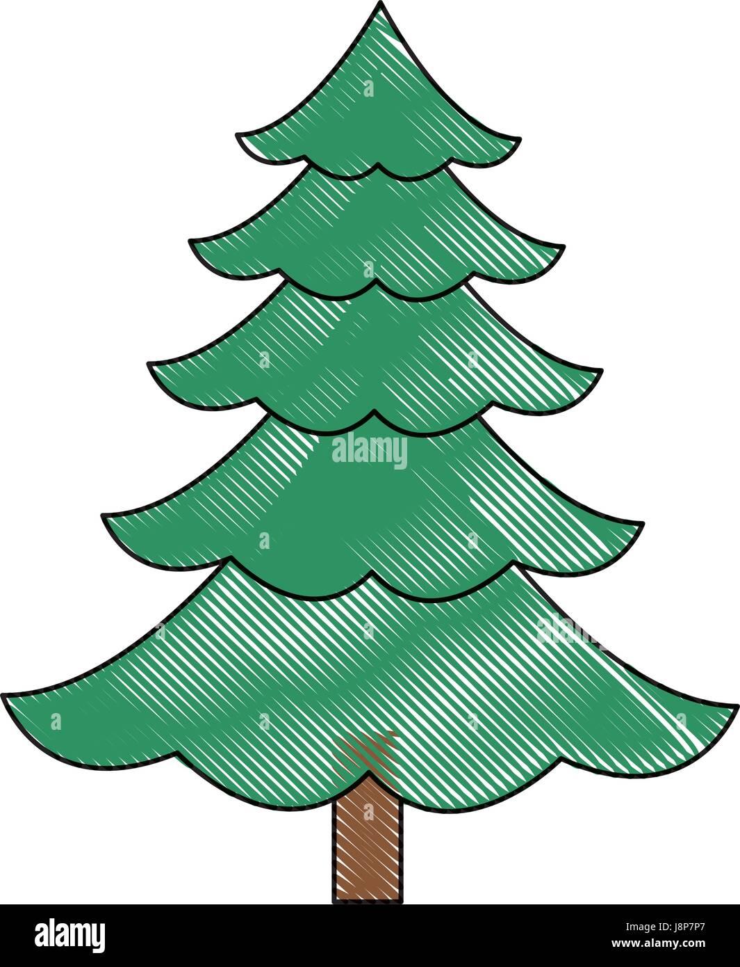 árbol De Navidad Ornamento De Pino Icono Dibujos Animados