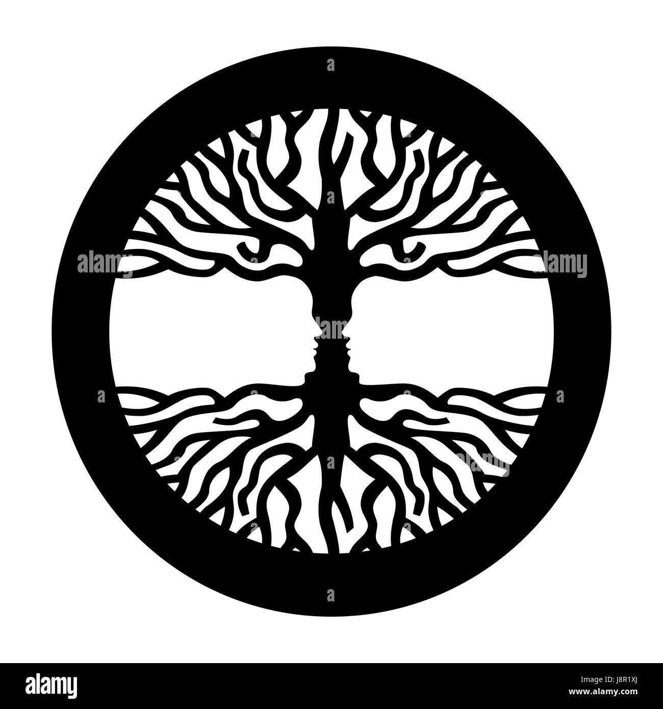 Ilusión Visual símbolo con ramas de árbol y frente a la gente enfrenta. Ilustración del concepto Imagen De Stock