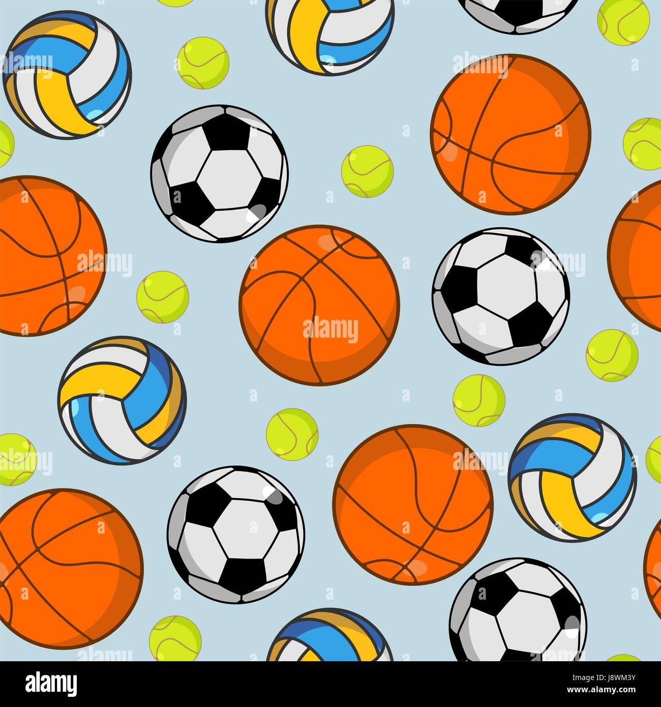 Patrón sin fisuras de balones deportivos. Ornamento de bolas. Baloncesto y  fútbol. Canchas 3b4b0cd6fec9f