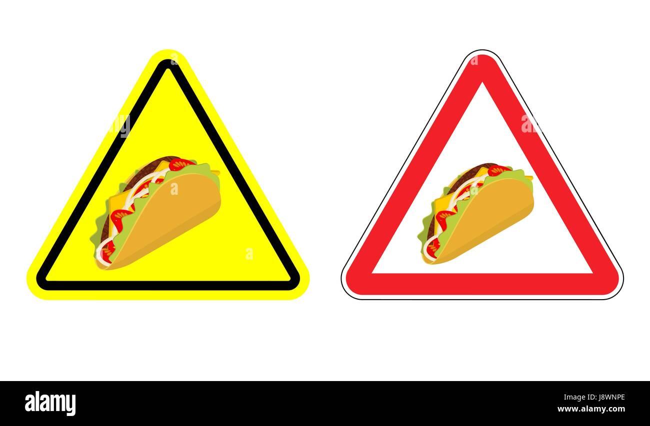 46e9f8487192b Señal de advertencia de atención taco. Peligros signo amarillo agudo comida  Mexicana. Conjunto de señales de carretera contra fastfood.