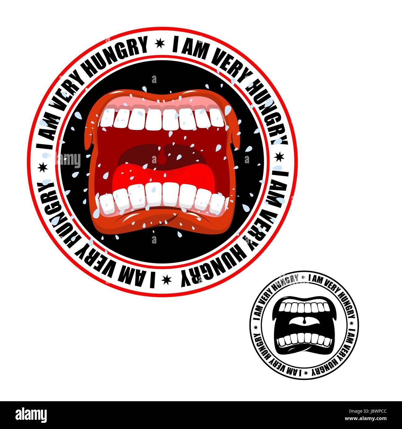 Estoy muy hambriento sello. Impresión de personas hambrientas. Abrir la boca y los dientes. Babeo volador Ilustración del Vector