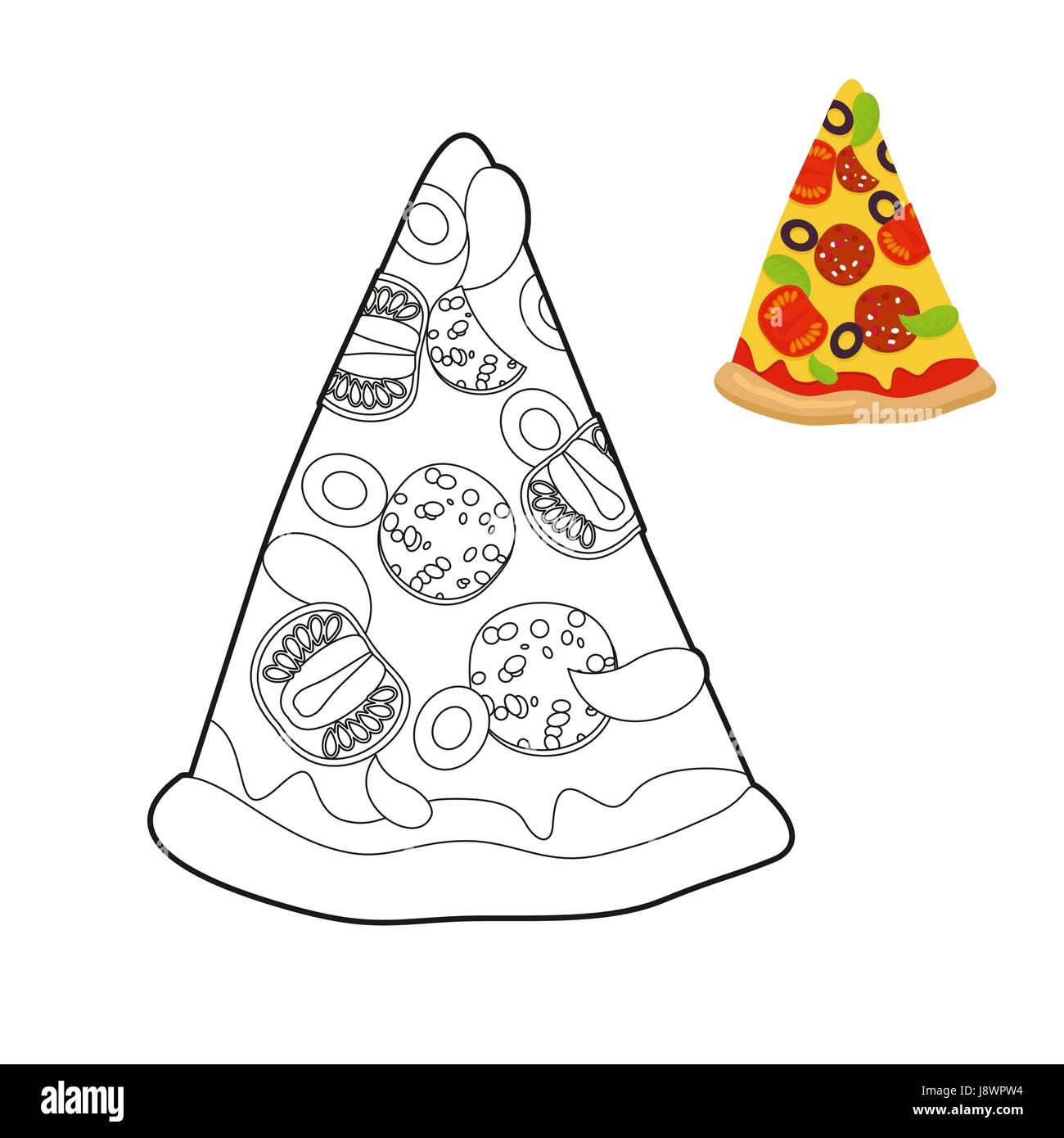 Libro Para Colorear De Pizza Deliciosa Porción De Pizza En Estilo
