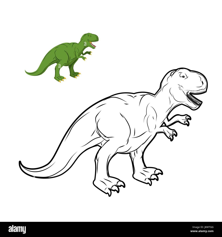 Libro Para Colorear De Dinosaurios Tyrannosaurus Rex Estilo Lineal