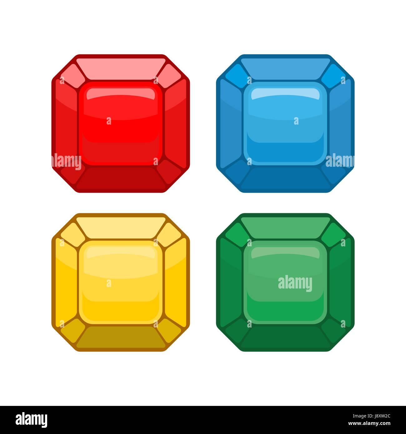 244609c2dd7a Cartoon joyas. Conjunto piedras preciosas de colores. Ilustración ...
