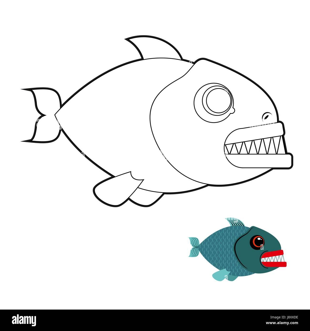 Libro para colorear de pirañas. Terrible mar peces con dientes ...