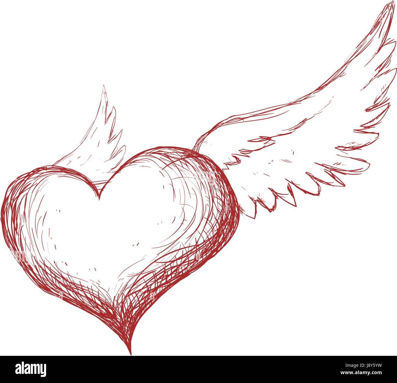 Corazón Con Alas Dibujar A Mano Ilustración Del Vector Imagen