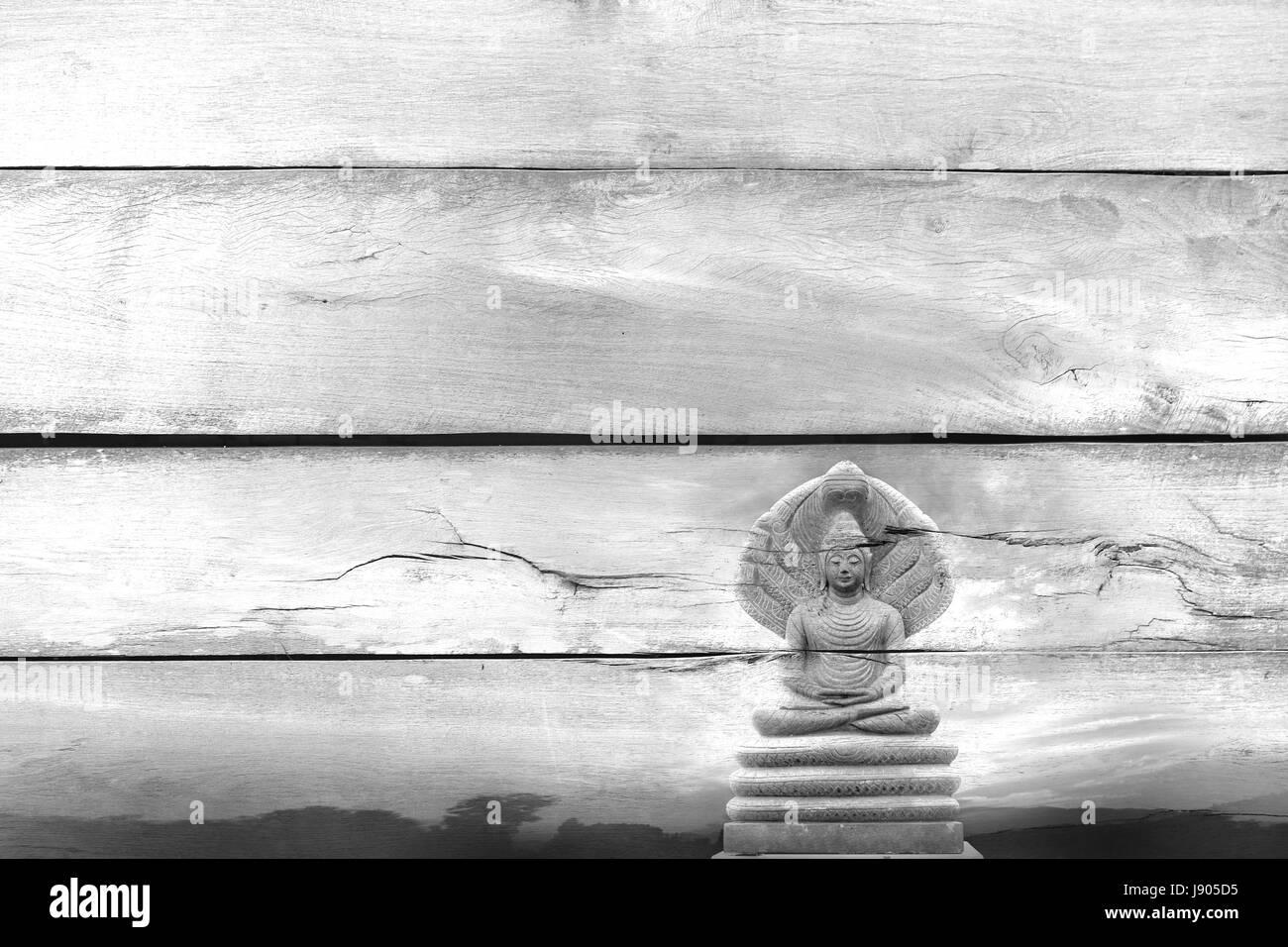 Vista en blanco y negro ,superponer la imagen de Buda de piedra preciosa al aire libre cubierto con siete jefes Imagen De Stock
