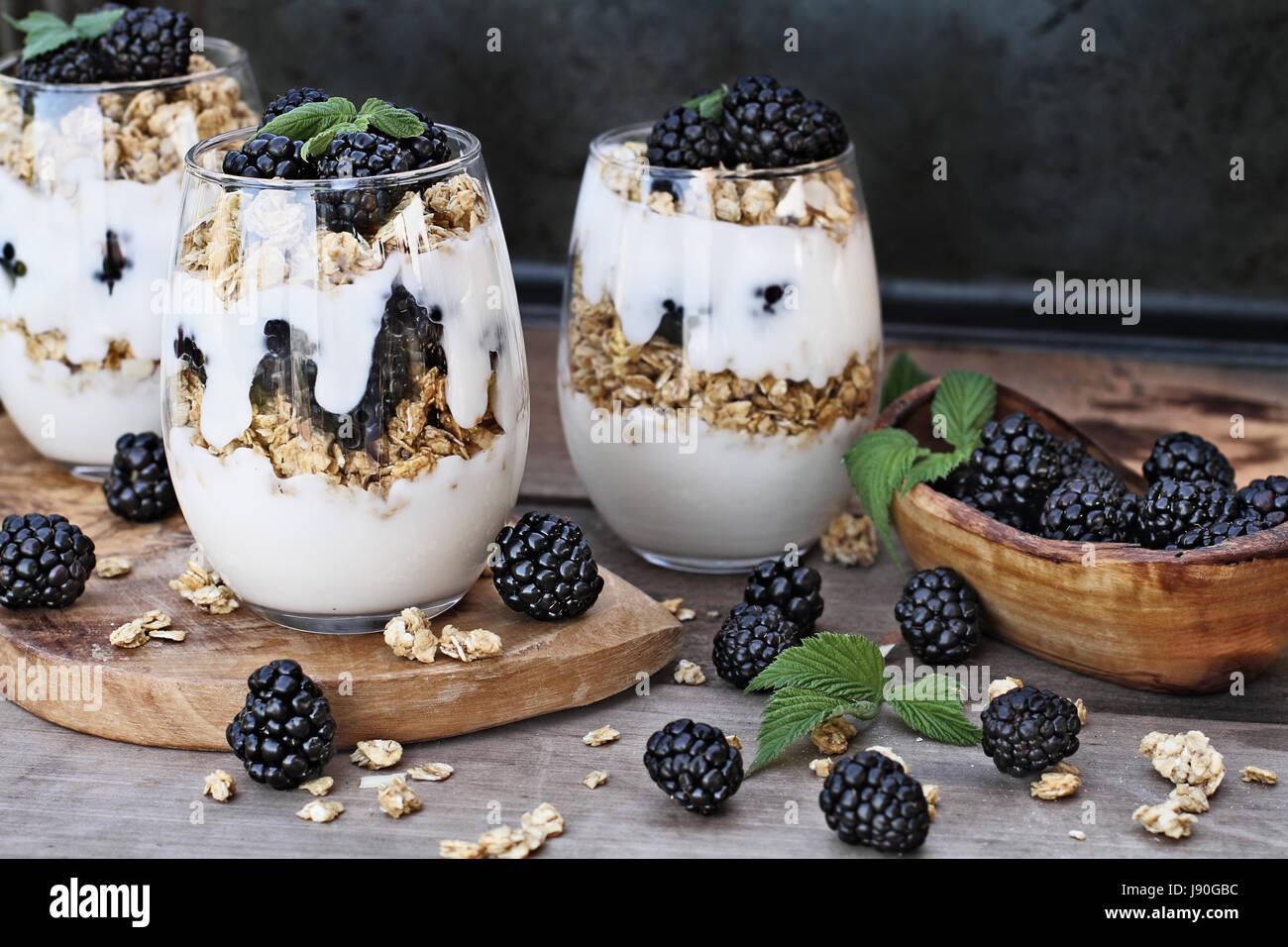 Parfaits Blackberry hecha con yogur griego, granola y moras frescas. Profundidad de campo extremas con el enfoque Imagen De Stock