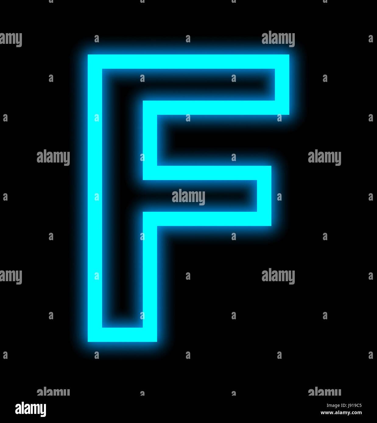 Letra F luces de neón esbozado aislado sobre fondo negro Imagen De Stock