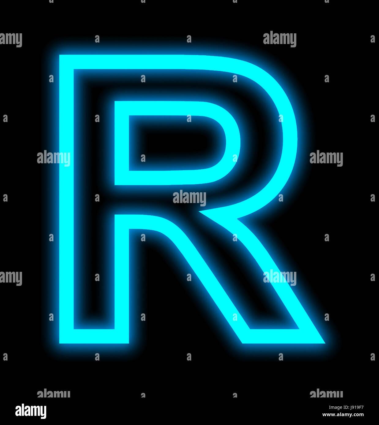 Letra R luces de neón esbozado aislado sobre fondo negro Imagen De Stock
