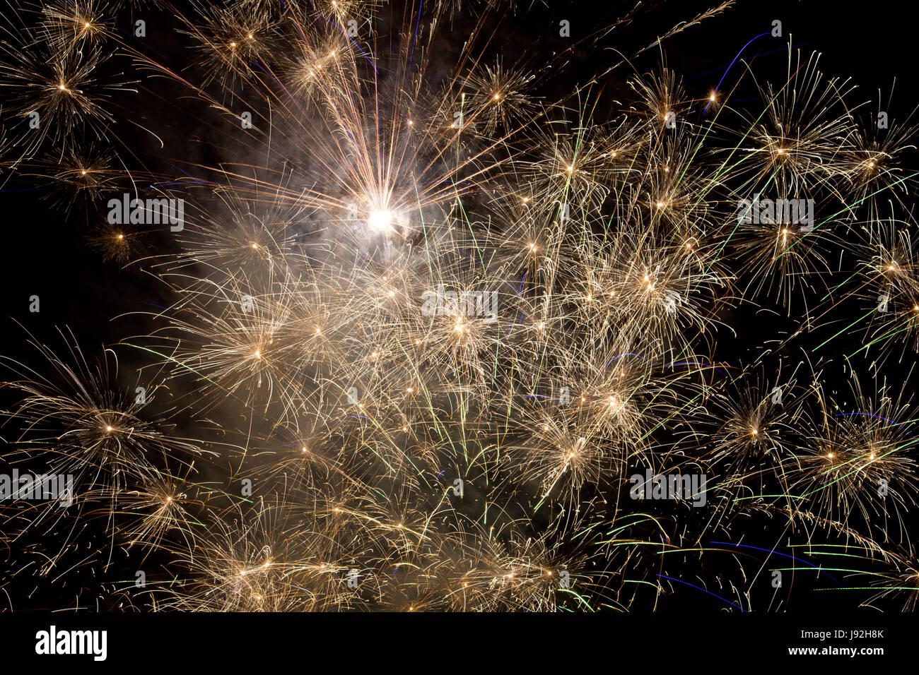 La exposición a largo plazo, Silvester, Nochevieja, Año Nuevo, cohete, saludos, Foto de stock