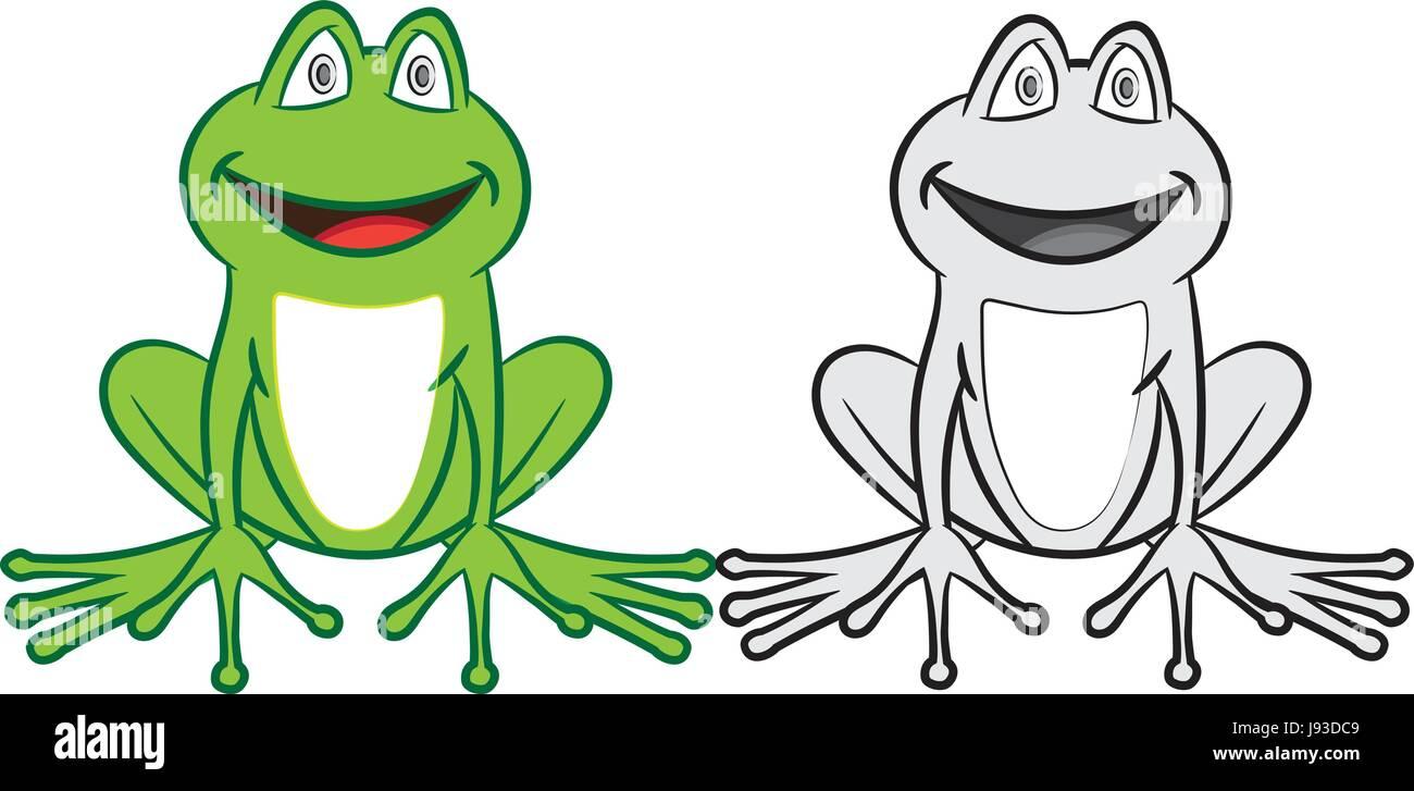 Ilustración vectorial de aislados y coloridas ranas en blanco y ...