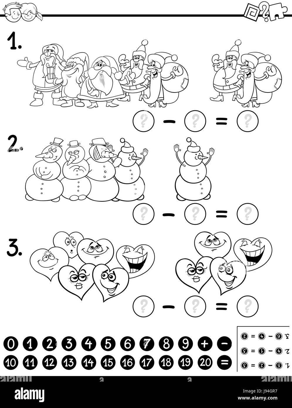 Ilustracion Caricatura En Blanco Y Negro De Recuento Y Educativa