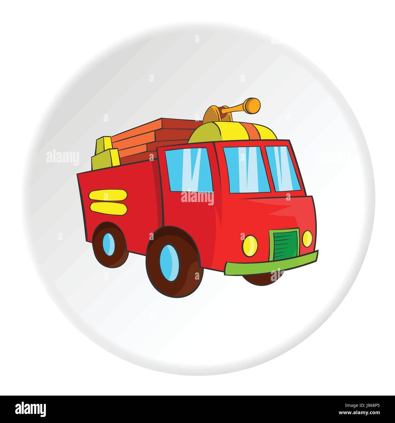 Camión De Bomberos Icono De Estilo De Dibujos Animados