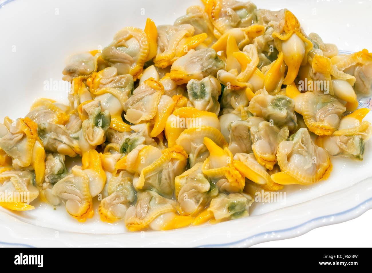Comida, alimento, moluscos, conchas, mariscos crudos, comestibles, marina, marina, español Foto de stock