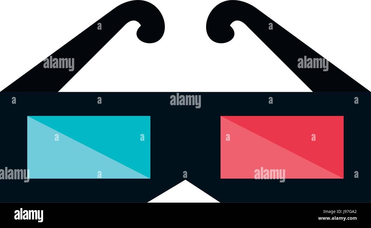 Gafas 3D Icono de cine Imagen De Stock