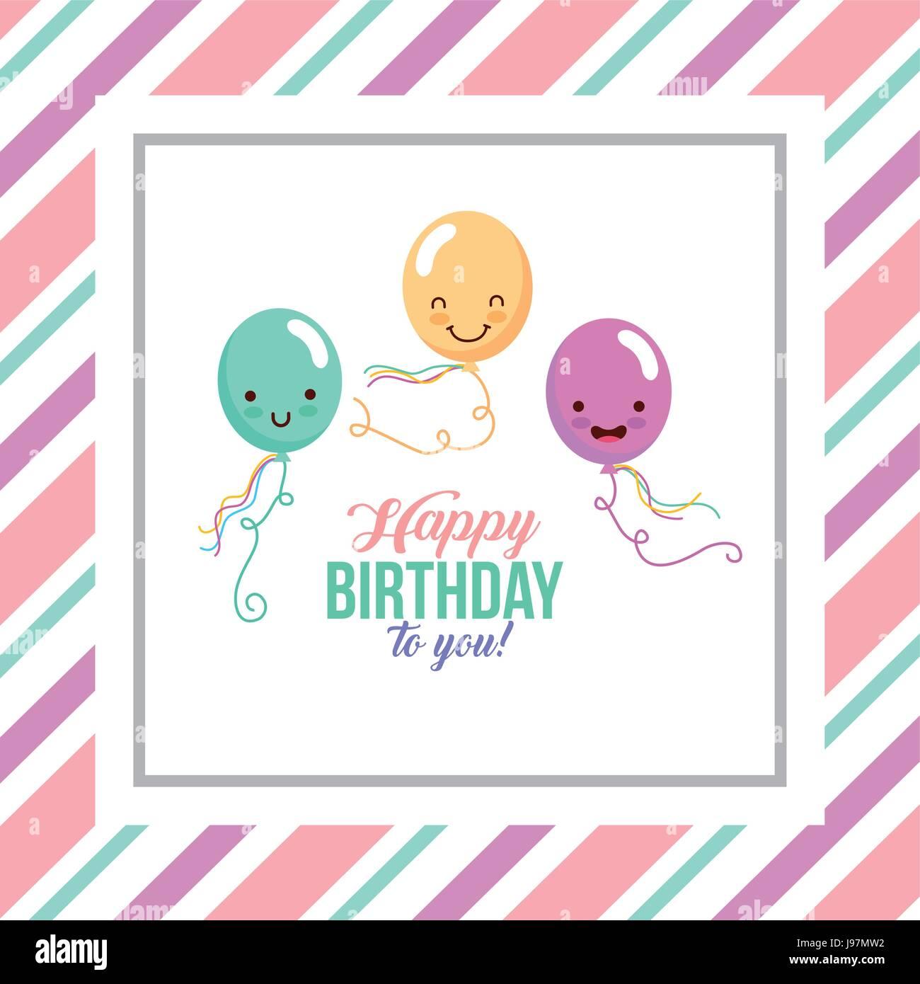 Feliz Cumpleanos Kawaii Ballons Ilustracion Del Vector Imagen