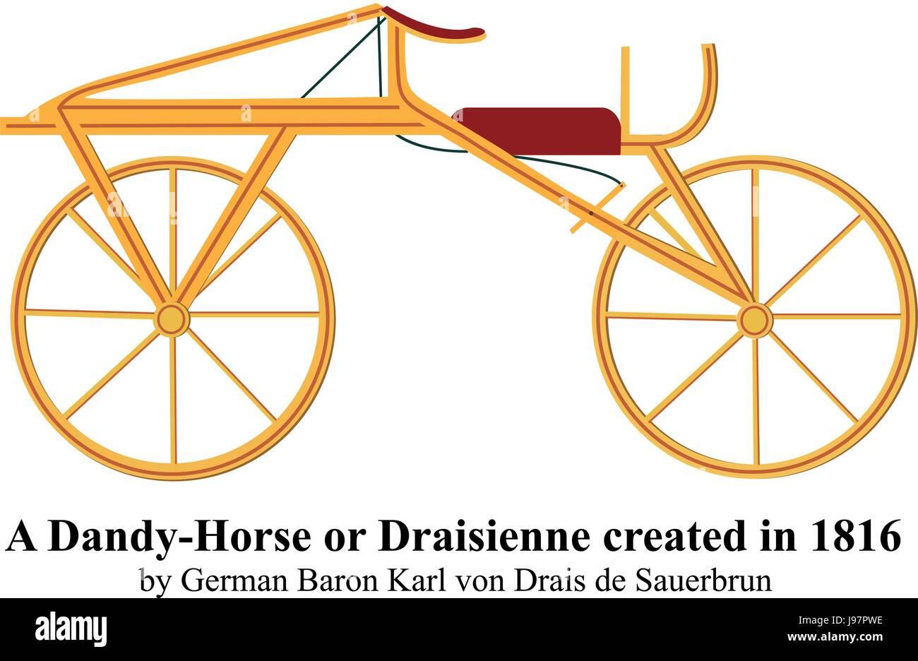 Un Dandy-Horse o Draisienne creado en 1816 por el barón alemán Karl von Drais de Sauerbrun ilustración vectorial. Ilustración del Vector