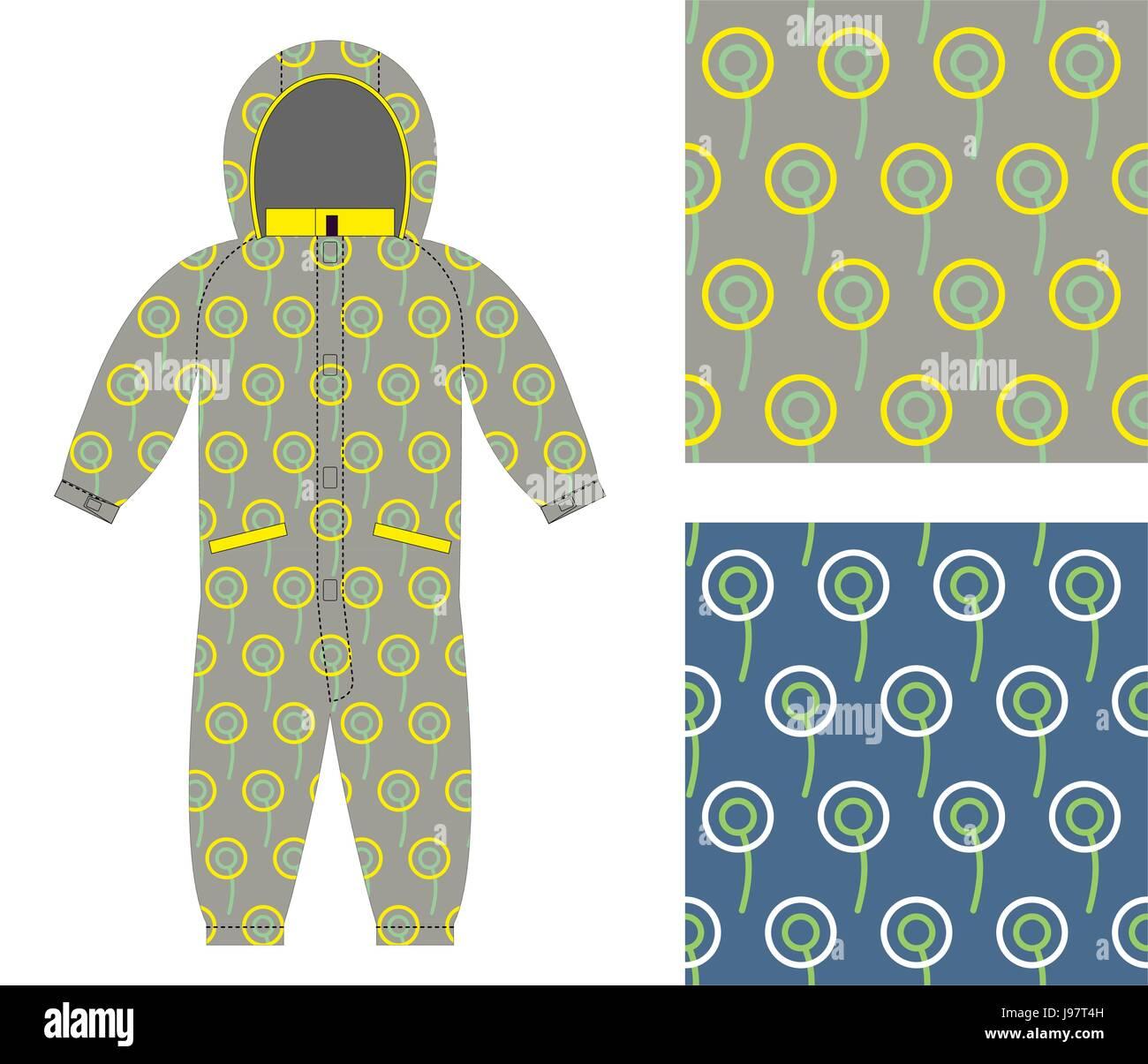 7914ee3bf Elegante ropa para niños. Monos de moda para niño o niña. Conjunto de patrón  sin fisuras de los círculos de tejido del bebé.
