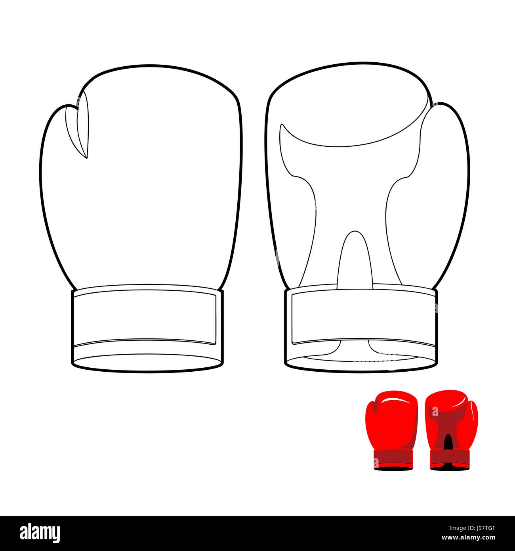 Libro Para Colorear De Guantes De Boxeo Ilustracion Vectorial De