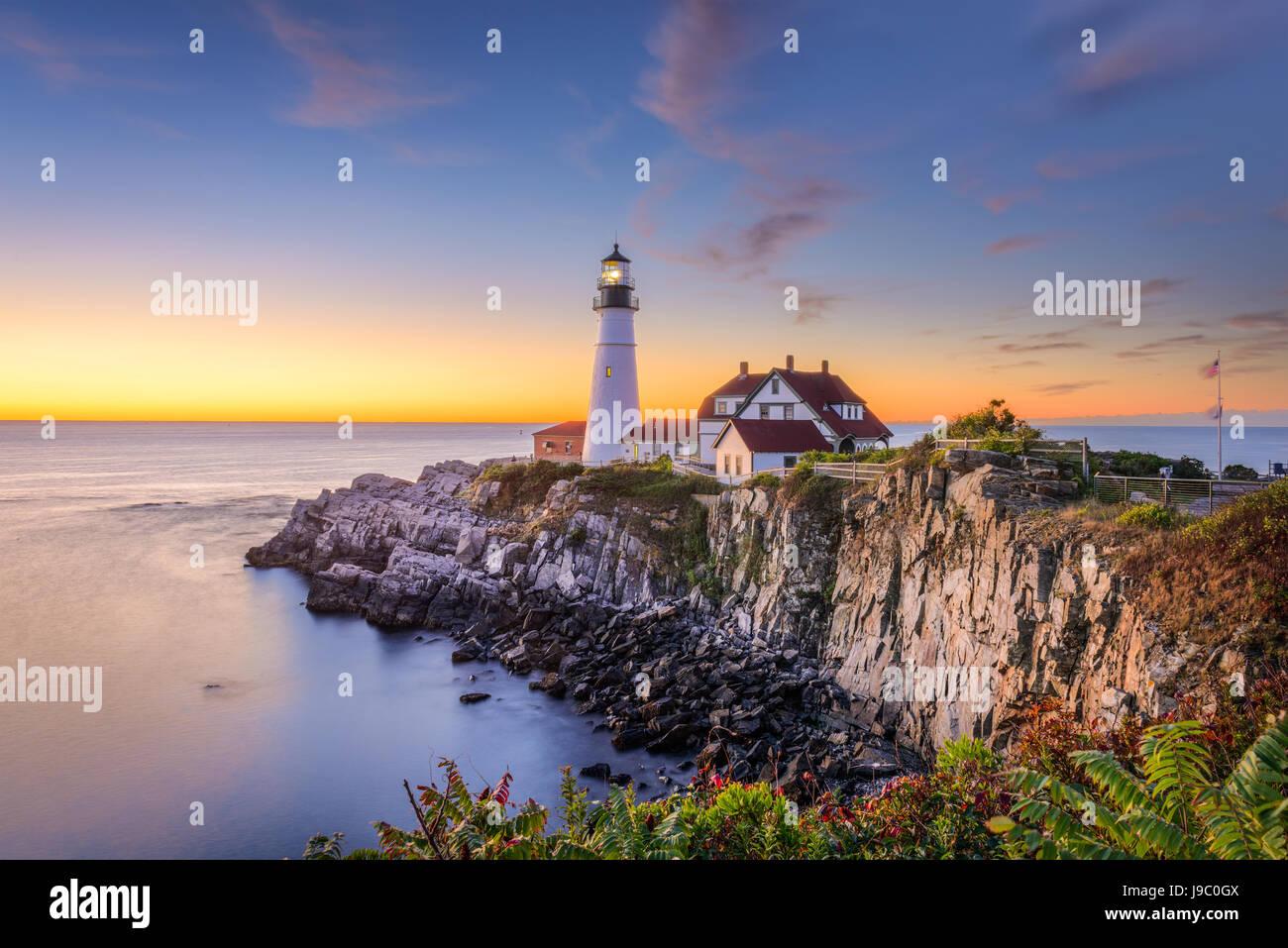 Portland, Maine, EE.UU. en Portland Head Light. Imagen De Stock