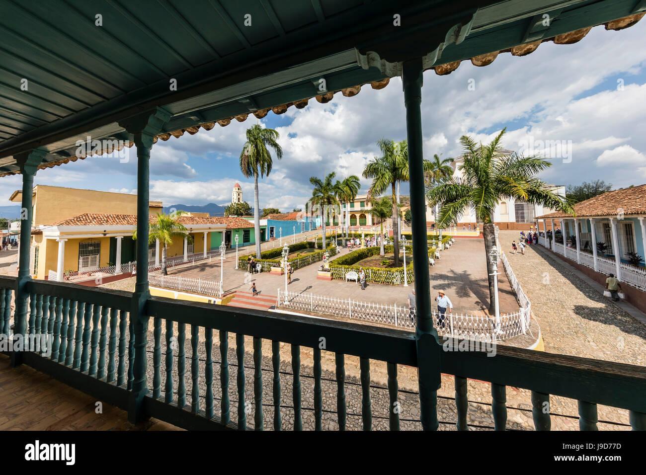 Una vista de la Plaza Mayor, Trinidad, Sitio del Patrimonio Mundial de la UNESCO, Cuba, Las Antillas, el Caribe, Imagen De Stock